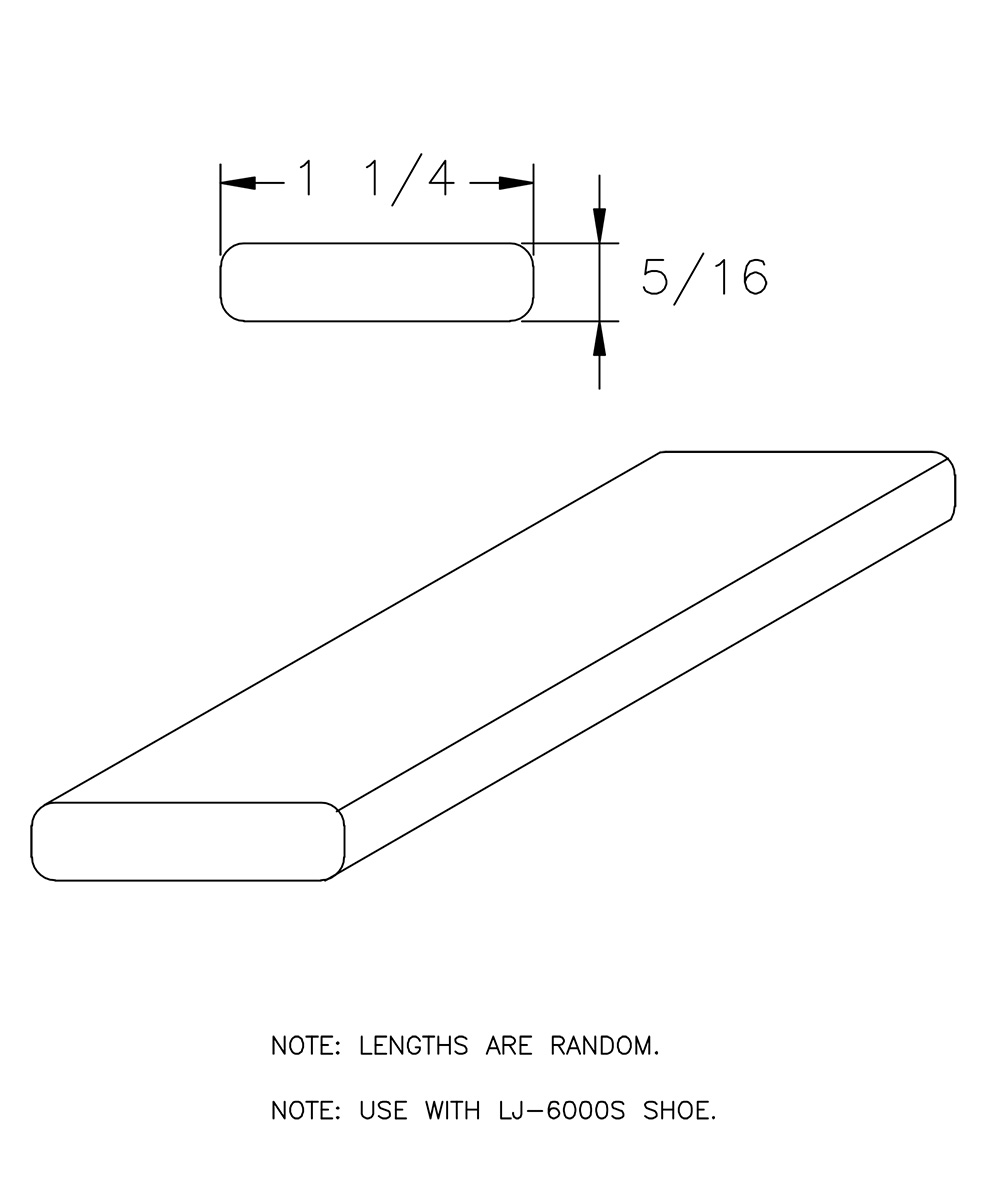 """LJ-6000F: 1 1/4"""" X 5/16"""" Rail Fillet • StairParts Connect, LLC"""