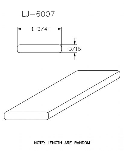 """LJ-6007: 1 3/4"""" x 5/16"""" Rail Fillet CAD Drawing"""