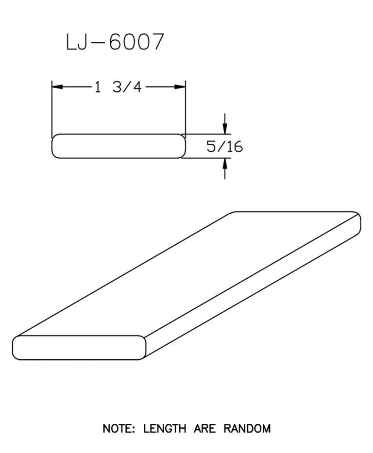"LJ-6007: 1 3/4"" x 5/16"" Rail Fillet CAD Drawing"