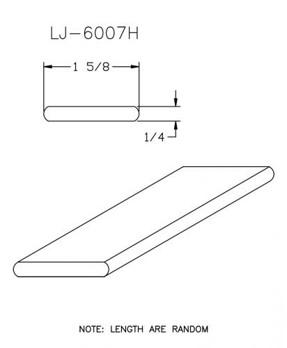 """LJ-6007-H: 1 5/8"""" x 1/4"""" Hemlock Rail Fillet CAD Drawing"""