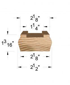 """LJ-6045-H: 1 1/4"""" Plow Hemlock Shoe Rail Dimensions"""