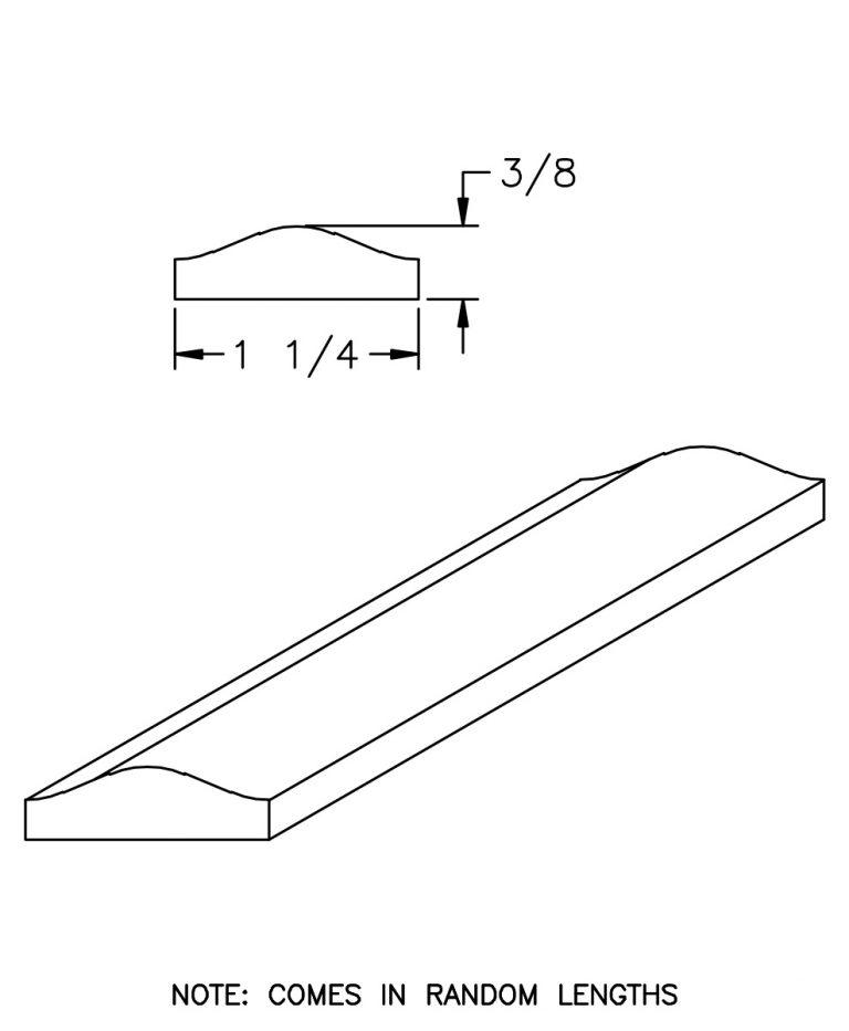 """LJ-6050: 1 1/4"""" x 5/16"""" Rail Fillet CAD Drawing"""