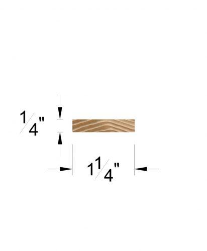 "LJ-6050-H: 1 1/4"" x  1/4"" Hemlock Rail Fillet Dimensions"