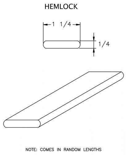 """LJ-6050-H: 1 1/4"""" x  1/4"""" Hemlock Rail Fillet CAD Drawing"""