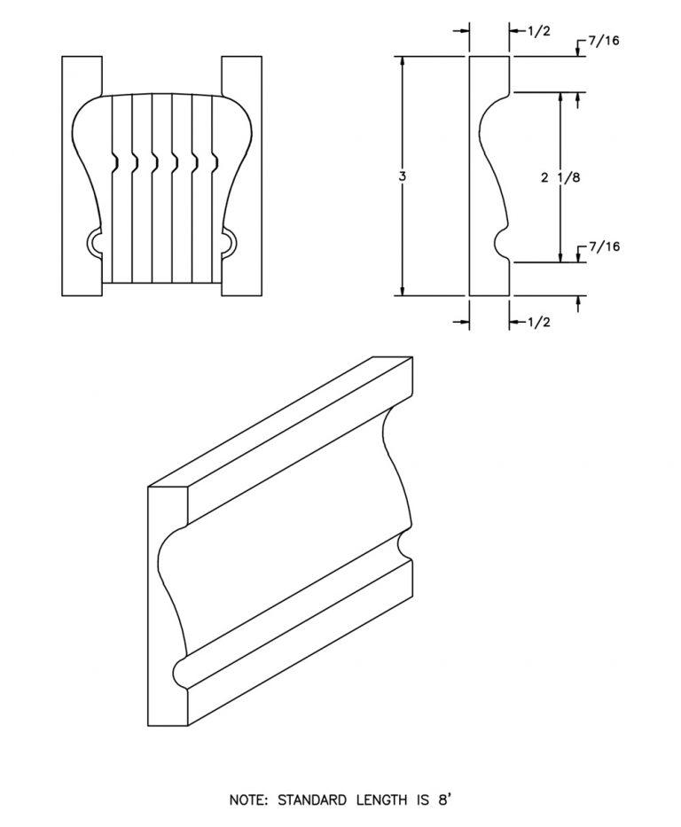 LJ-6910BM-08: Polyvinyl Bending Mould for LJ-6010B and LJ-6210B CAD Drawing