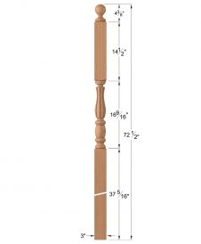 "LJF-3246BT: 3"" Intersection Newel Post with Ball Top Dimensions"