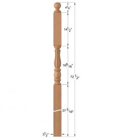 "LJF-3346BT: 3 1/2"" Fluted Intersection Newel Post with Ball Top Dimensions"