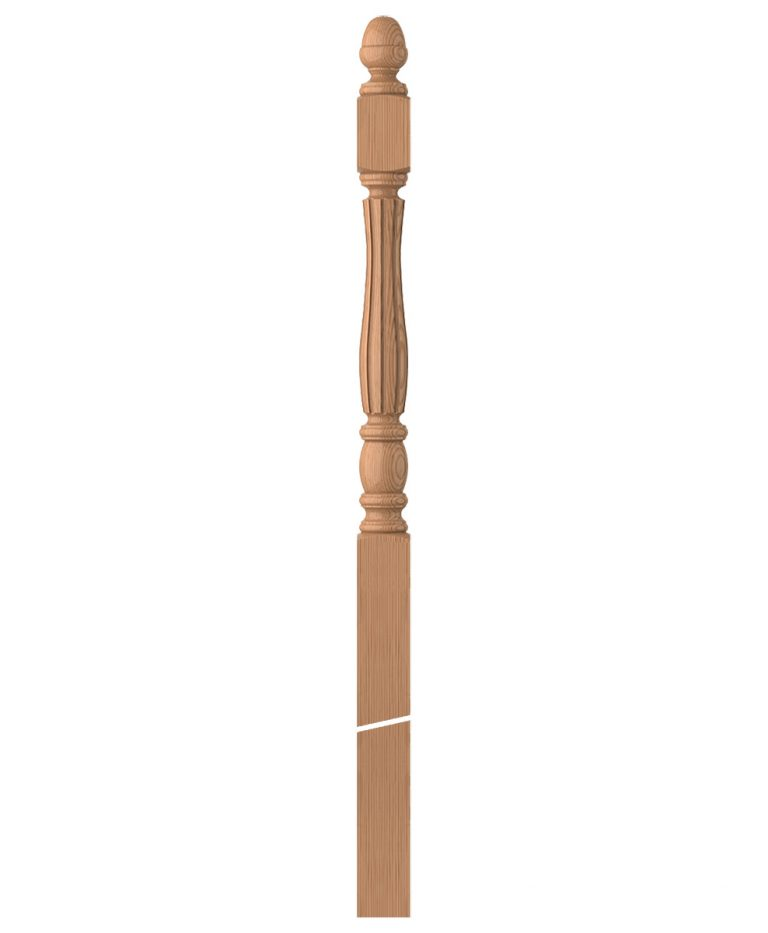 "LJF-3358: 3 1/2"" Fluted Winder Newel Post"