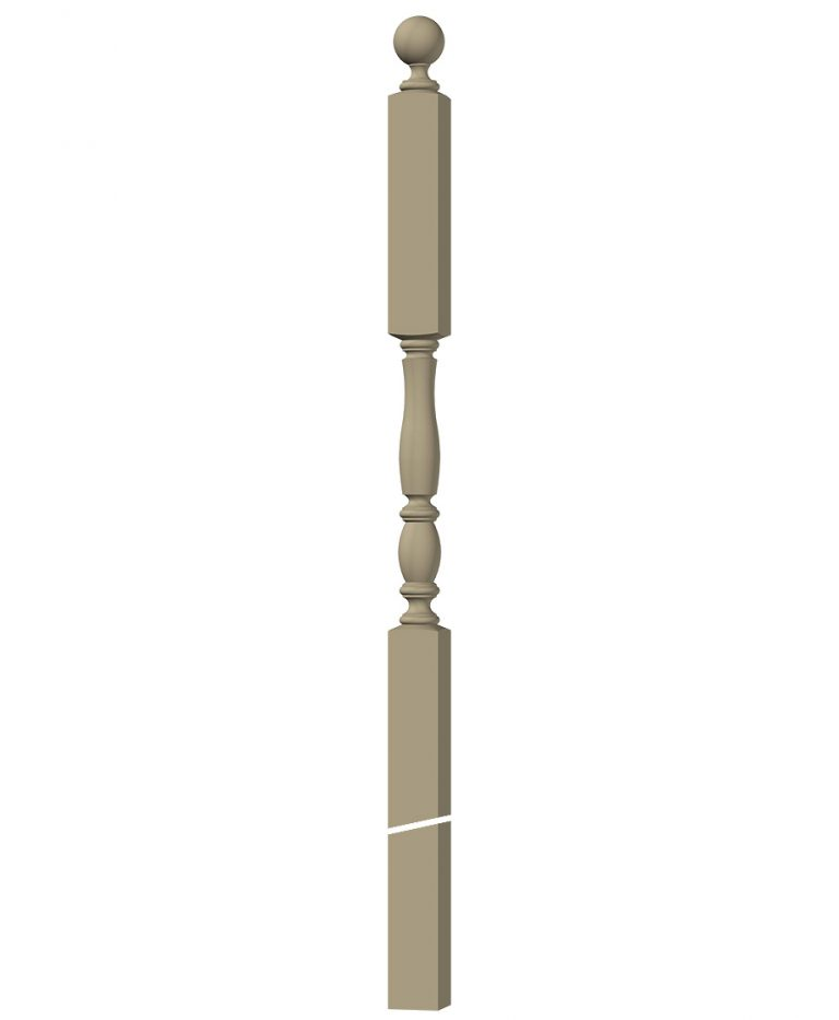 "LJP-3246BT: 3"" Intersection Newel Post with Ball Top 3D CAD Rendering"