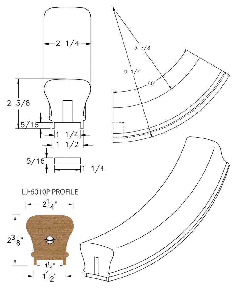 """LJ-7012P: Conect-A-Kit 60° Upeasing for LJ-6010P - 1 1/4"""" Plowed Handrail CAD Drawing"""