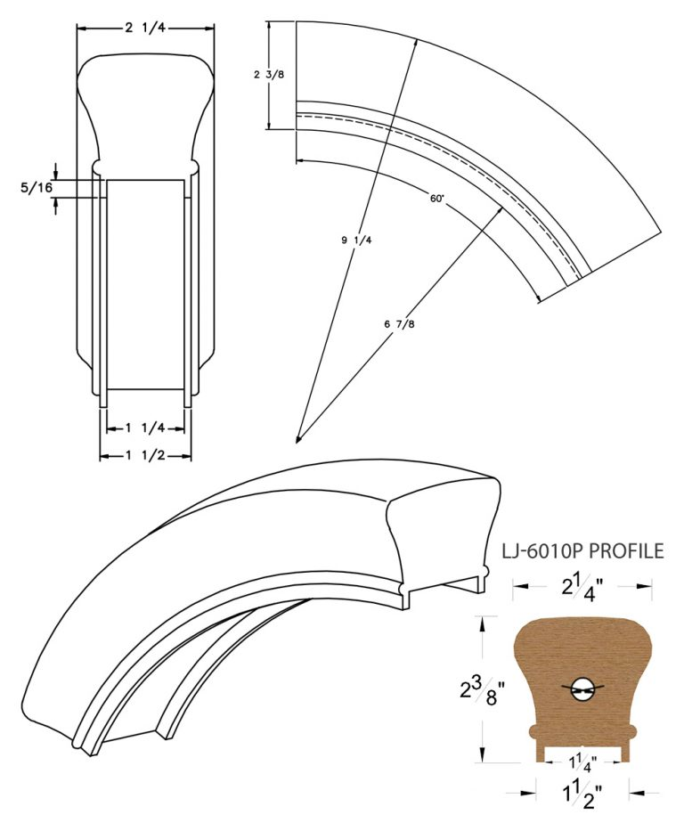 """LJ-7013P: Conect-A-Kit 60° Over Easing for LJ-6010P - 1 1/4"""" Plowed Handrail CAD Drawing"""