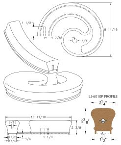 "LJ-7030P: Conect-A-Kit Left Hand Volute for LJ-6010P - 1 1/4"" Plowed Handrail CAD Drawing"