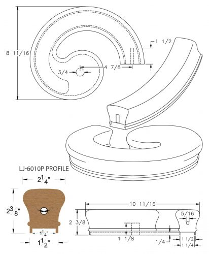 """LJ-7035P: Conect-A-Kit Right Hand Volute for LJ-6010P - 1 1/4"""" Plowed Handrail CAD Drawing"""