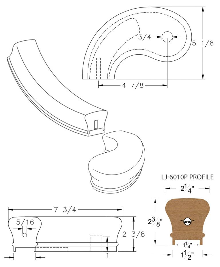 "LJ-7040P: Conect-A-Kit 5"" Left Hand Turnout for LJ-6010P - 1 1/4"" Plowed Handrail CAD Drawing"