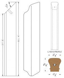 LJ-70RD: Conect-A-Kit Rail Drop for LJ-6010 Handrail CAD Drawing