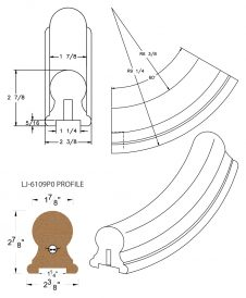 "LJ-7112P0: Conect-A-Kit 60° Upeasing for LJ-6109P0 - 1 1/4"" Plowed Handrail CAD Drawing"
