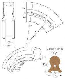 "LJ-7113P0: Conect-A-Kit 60° Over Easing for LJ-6109P0 - 1 1/4"" Plowed Handrail CAD Drawing"