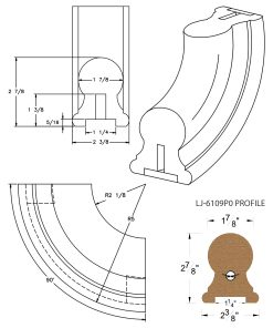"LJ-7114P0: Conect-A-Kit 90° Upeasing for LJ-6109P0 - 1 1/4"" Plowed Handrail CAD Drawing"