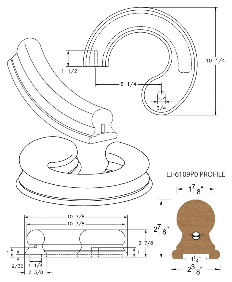 "LJ-7130P0: Conect-A-Kit Left Hand Volute for LJ-6109P0 - 1 1/4"" Plowed Handrail CAD Drawing"