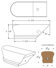 LJ-7209: Conect-A-Kit Returned End for LJ-6210 Handrail CAD Drawing