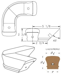 LJ-7211: Conect-A-Kit 90° Level Quarterturn for LJ-6210 Handrail CAD Drawing