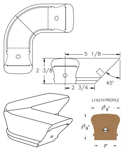 LJ-7211: Conect-A-Kit 90° Level Quarterturn for LJ-6210 Handrail CAD Drawing