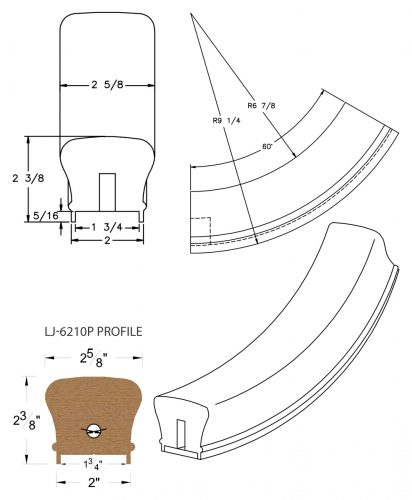 """LJ-7212P: Conect-A-Kit 60° Upeasing for LJ-6210P - 1 3/4"""" Plowed Handrail CAD Drawing"""