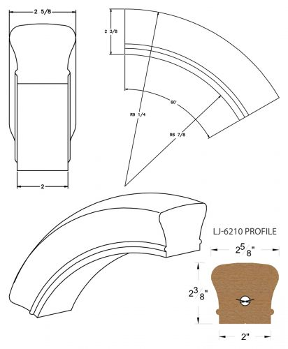 LJ-7213: Conect-A-Kit 60° Over Easing for LJ-6210 Handrail CAD Drawing