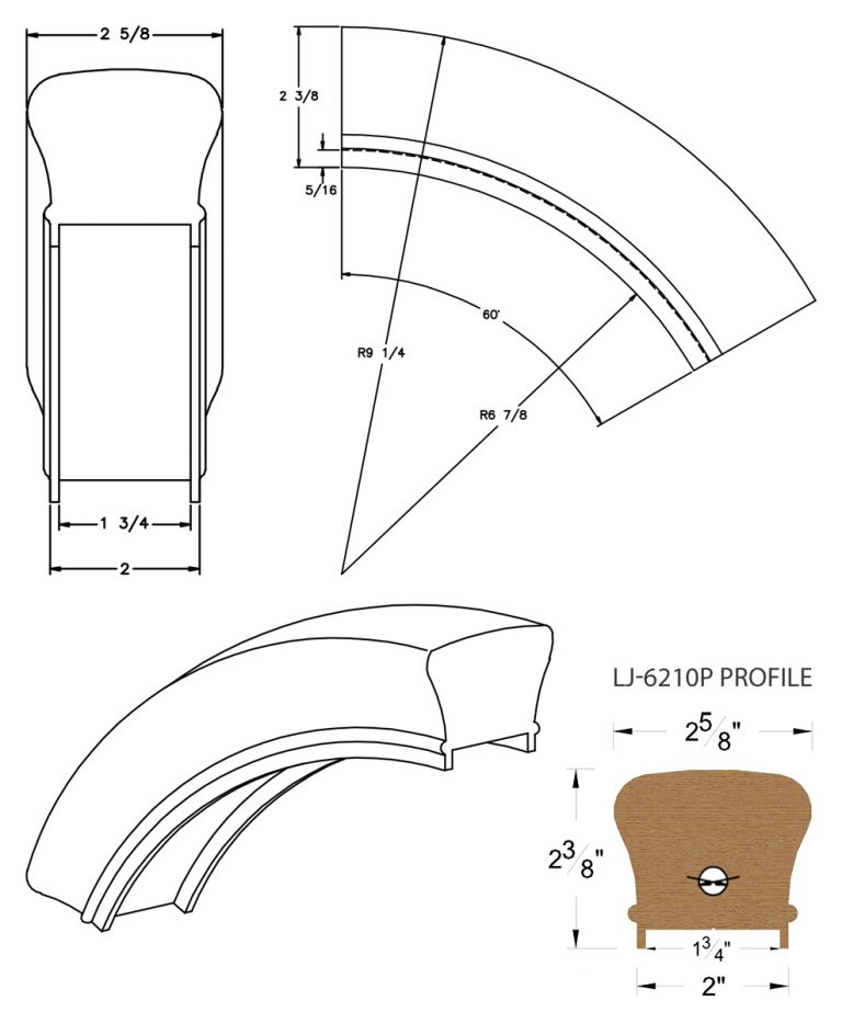 "LJ-7213P: Conect-A-Kit 60° Over Easing for LJ-6210P - 1 3/4"" Plowed Handrail CAD Drawing"