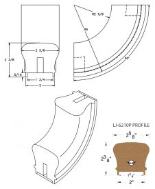 "LJ-7214P: Conect-A-Kit 90° Upeasing for LJ-6210P - 1 3/4"" Plowed Handrail CAD Drawing"