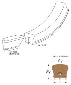 """LJ-7215P: Conect-A-Kit Starting Easing for LJ-6210P - 1 3/4"""" Plowed Handrail CAD Drawing"""