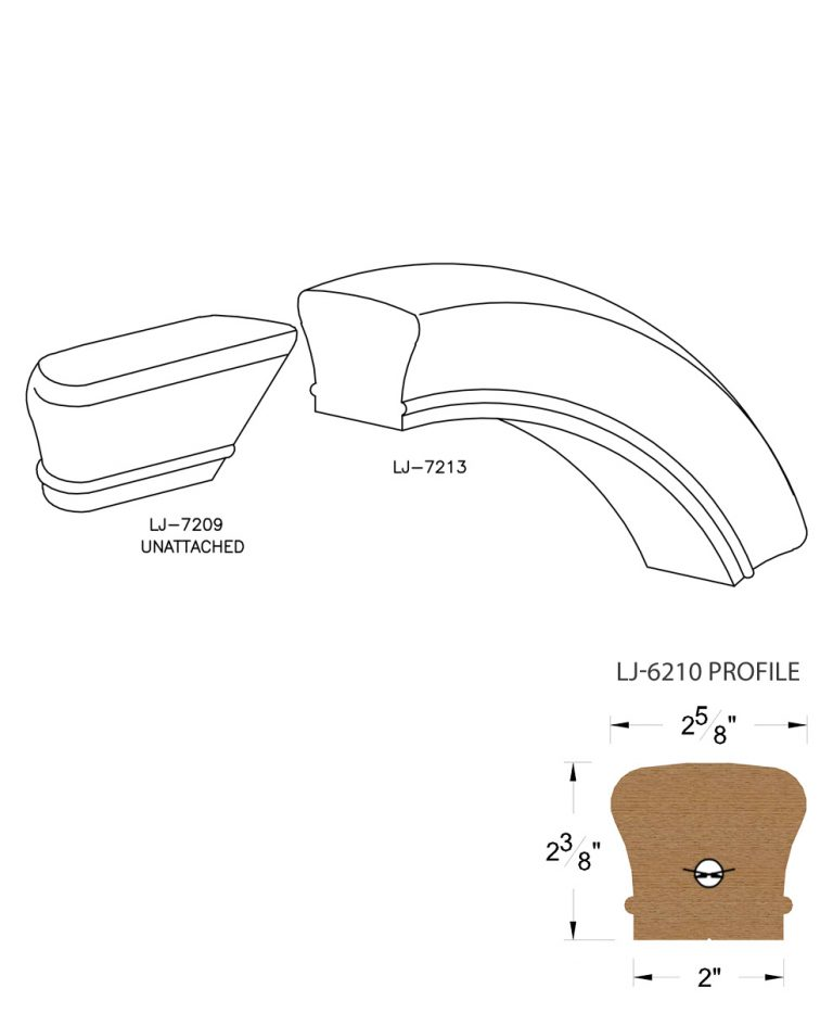 LJ-7216: Conect-A-Kit Starting Over Easing for LJ-6210 Handrail CAD Drawing