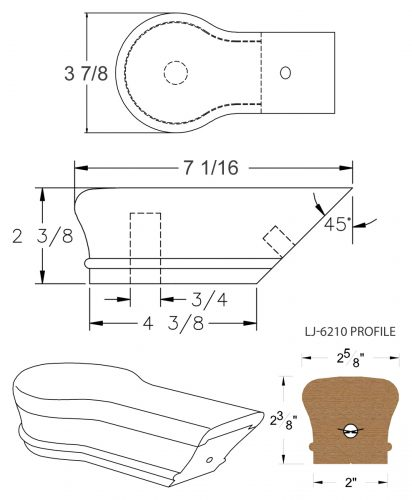 LJ-7219: Conect-A-Kit Opening Cap for LJ-6210 Handrail CAD Drawing