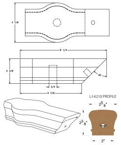 LJ-7220: Conect-A-Kit Tandem Cap for LJ-6210 Handrail CAD Drawing