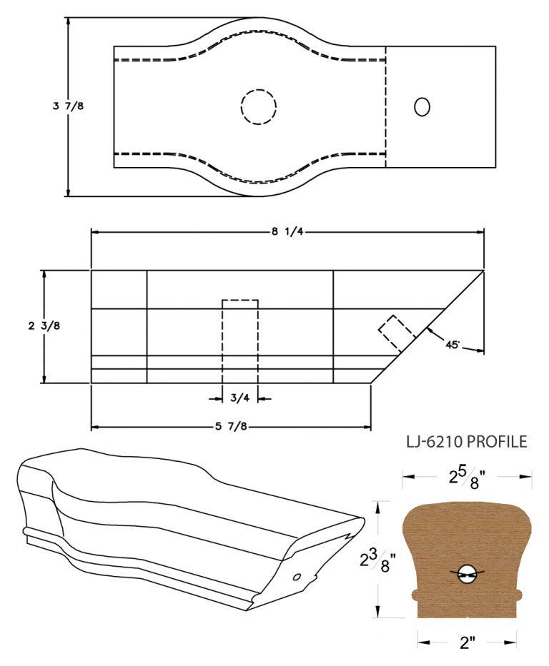 LJ-7220: Conect-A-Kit Tandem Cap for LJ-6210 Handrail CAD Drawing