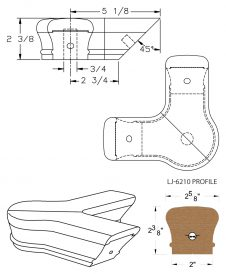 LJ-7221: Conect-A-Kit 90° Level Quarterturn with Cap for LJ-6210 Handrail CAD Drawing