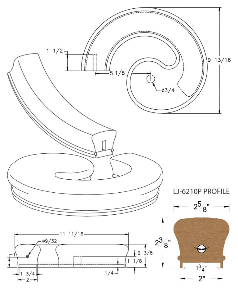 "LJ-7230P: Conect-A-Kit Left Hand Volute for LJ-6210P - 1 3/4"" Plowed Handrail CAD Drawing"