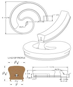 "LJ-7235P: Conect-A-Kit Right Hand Volute for LJ-6210P - 1 3/4"" Plowed Handrail CAD Drawing"