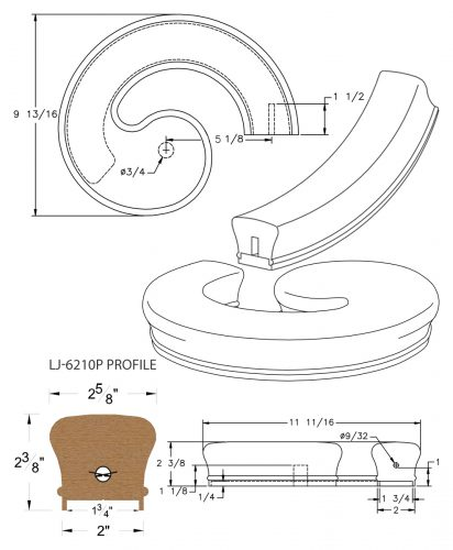 """LJ-7235P: Conect-A-Kit Right Hand Volute for LJ-6210P - 1 3/4"""" Plowed Handrail CAD Drawing"""