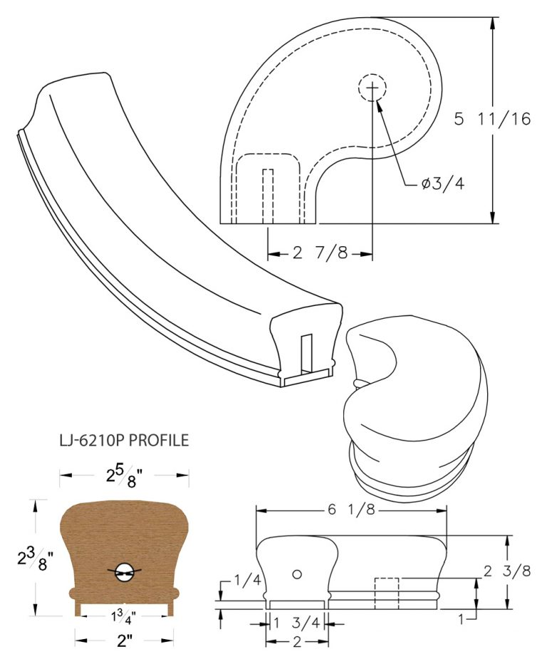 "LJ-7241P: Conect-A-Kit 3"" Left Hand Turnout for LJ-6210P - 1 3/4"" Plowed Handrail CAD Drawing"