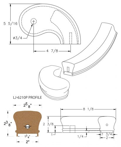 """LJ-7245P: Conect-A-Kit 5"""" Right Hand Turnout for LJ-6210P - 1 3/4"""" Plowed Handrail CAD Drawing"""