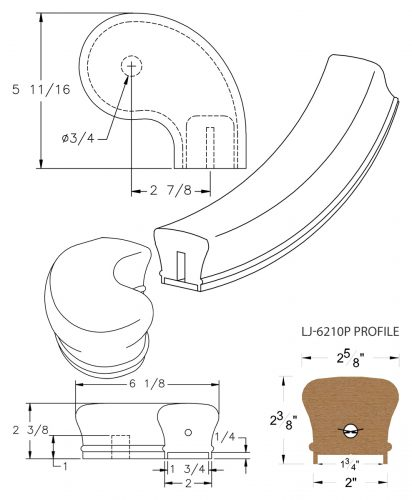 """LJ-7246P: Conect-A-Kit 3"""" Right Hand Turnout for LJ-6210P - 1 3/4"""" Plowed Handrail CAD Drawing"""