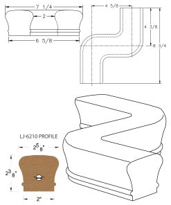 LJ-7247: Conect-A-Kit Left Hand S Fitting / Offset for LJ-6210 Handrail CAD Drawing