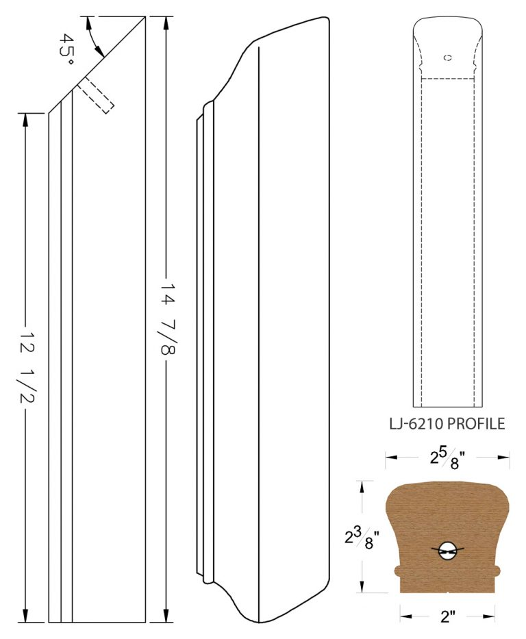 LJ-72RD: Conect-A-Kit Rail Drop for LJ-6210 Handrail CAD Drawing