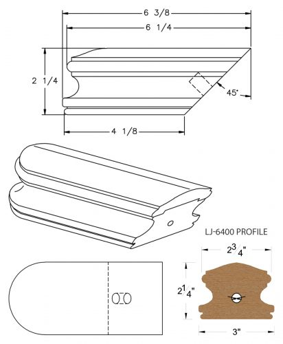 LJ-7409: Conect-A-Kit Returned End for LJ-6400 Handrail CAD Drawing