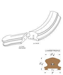 """LJ-7410P: Conect-A-Kit Starting Easing with Cap for LJ-6400P - 1 3/4"""" Plowed Handrail CAD Drawing"""