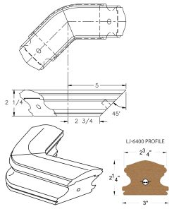 LJ-7411-135: Conect-A-Kit 135° Level Turn for LJ-6400 Handrail CAD Drawing