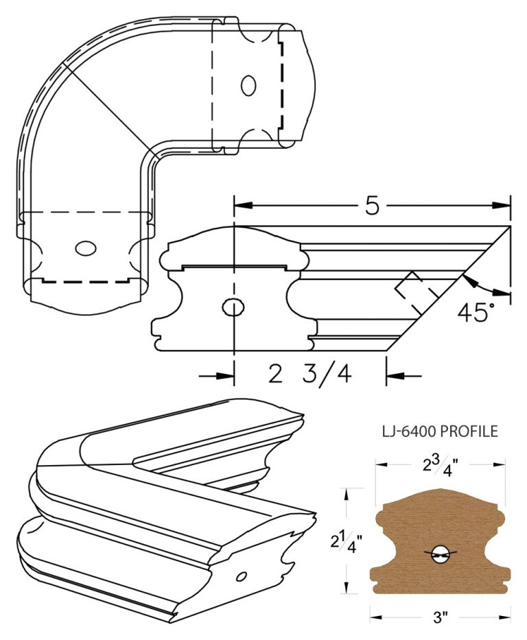 LJ-7411: Conect-A-Kit 90° Level Quarterturn for LJ-6400 Handrail CAD Drawing
