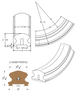 "LJ-7412P: Conect-A-Kit 60° Upeasing for LJ-6400P - 1 3/4"" Plowed Handrail CAD Drawing"