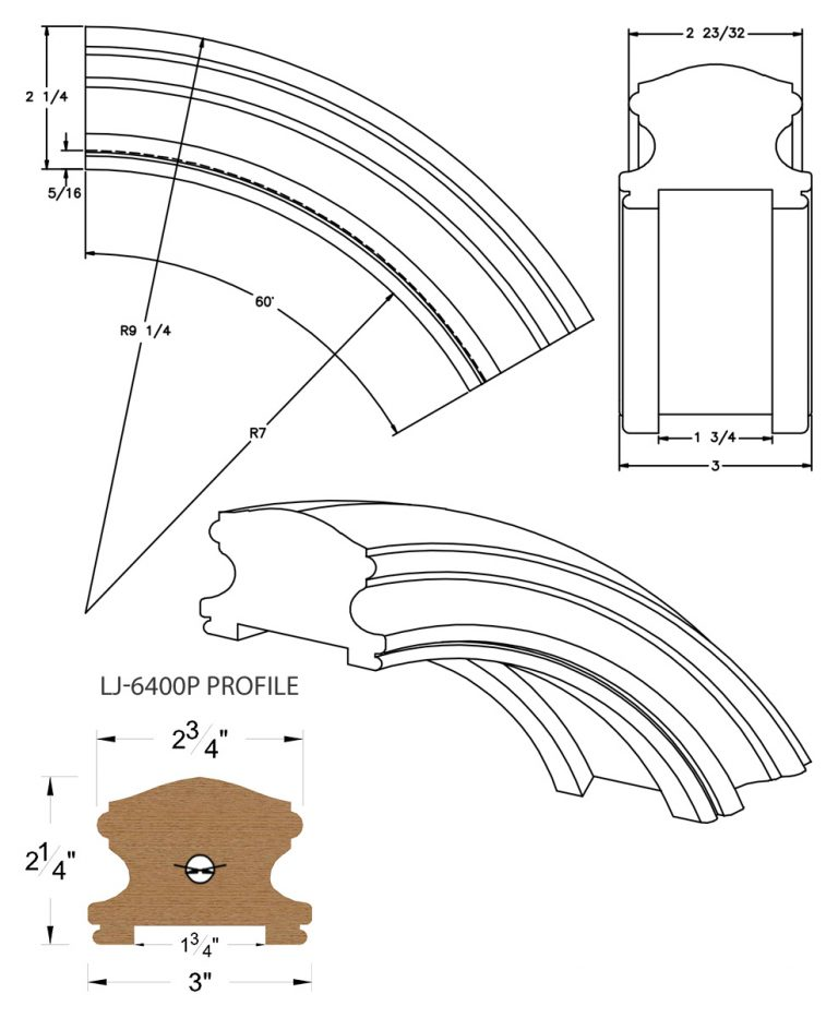 "LJ-7413P: Conect-A-Kit 60° Over Easing for LJ-6400P - 1 3/4"" Plowed Handrail CAD Drawing"